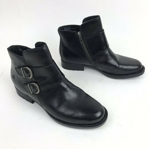 Born Boots Black Leather Adler Moto Ankle Booties
